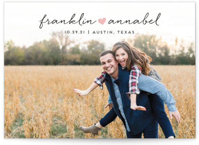 This is a landscape, portrait simple and minimalist, pink Save the Dates by Jessica Corliss called Sidewalk Love with Standard printing on Signature in Classic Flat Card format. A simple photo save the date with a small doodle heart