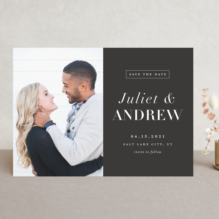 """""""New Modern"""" - Save The Date Cards in Charcoal by Stacey Meacham."""