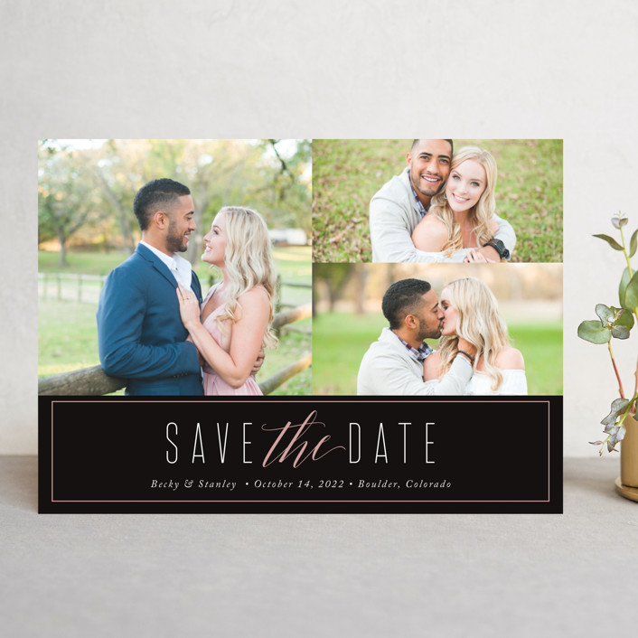 """Opulent"" - Simple Save The Date Cards in Midnight by Jessica Williams."