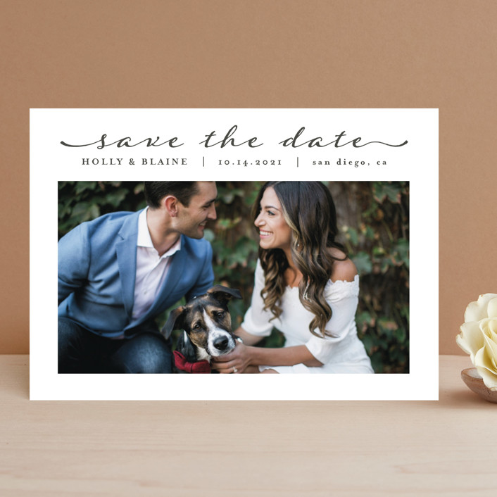 """Simple Elegant"" - Save The Date Cards in Charcoal by Chasity Smith."