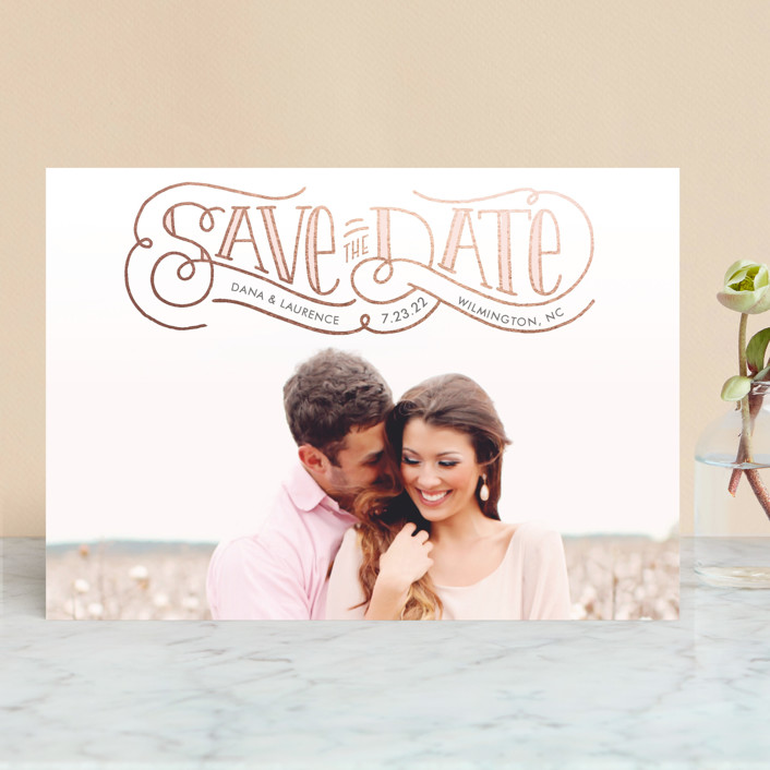 """Flourishing Love"" - Rustic Save The Date Cards in Rose by Laura Hankins."