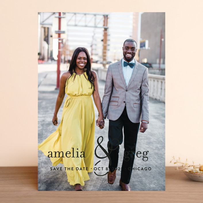 """Two Become One"" - Modern Save The Date Cards in Cloud by Kimberly FitzSimons."
