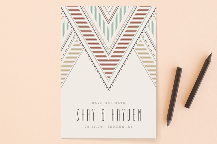 """Sedona"" - Bohemian Save The Date Cards in Terracotta by Amber Barkley."