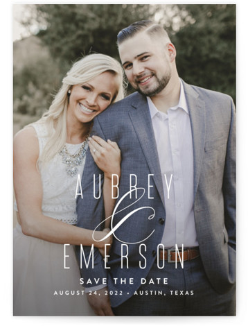 This is a landscape, portrait classic and formal, white Save the Dates by Jessica Williams called Resplendent with Standard printing on Signature in Classic Flat Card format. A graceful ampersand accents the couple's names.