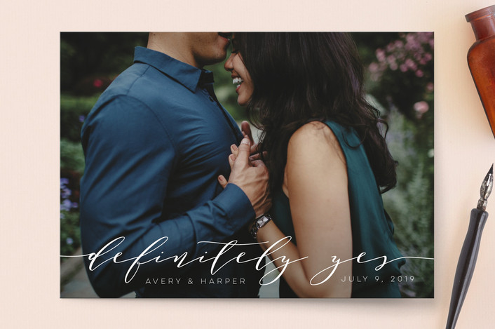 """""""Definitely"""" - Save The Date Cards in Pearl by Jennifer Lew."""