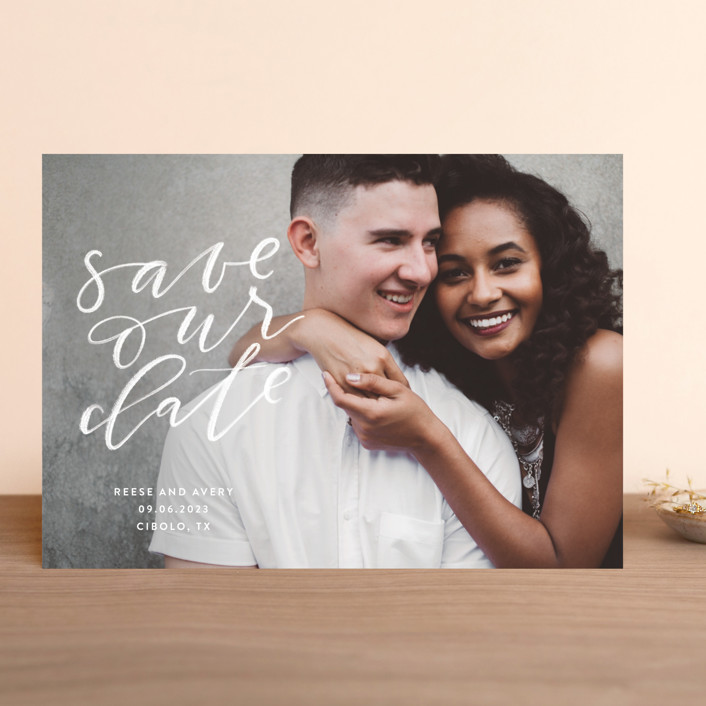 """Chalkboard"" - Modern Save The Date Cards in Cloud by Haley Warner."
