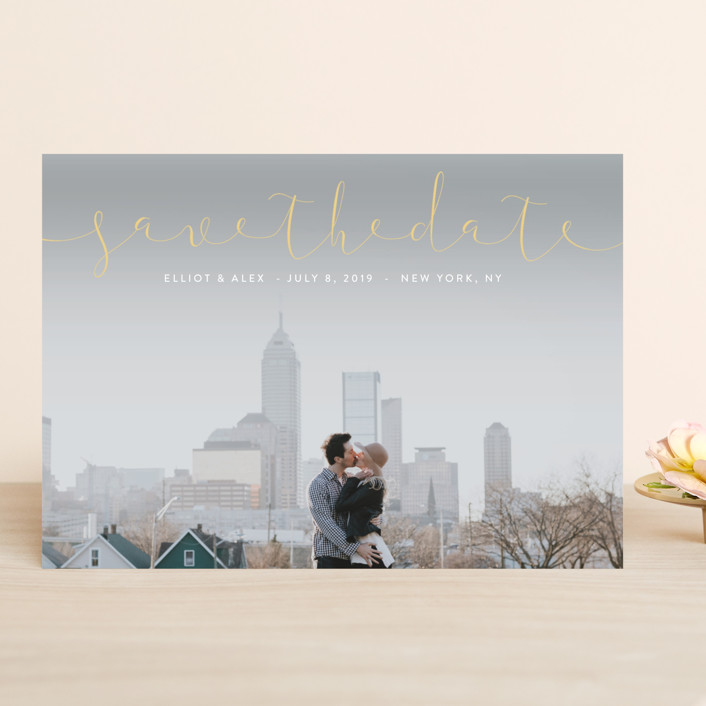 """""""Ribbon"""" - Save The Date Cards in Sky by Erin Deegan."""