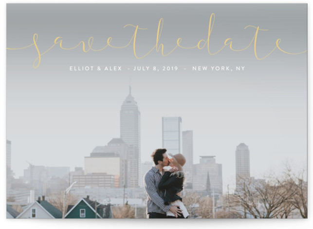 This is a landscape simple and minimalist, yellow Save the Dates by Erin Deegan called Ribbon with Standard printing on Signature in Classic Flat Card format. Full bleed photo typographic Save the Date design.