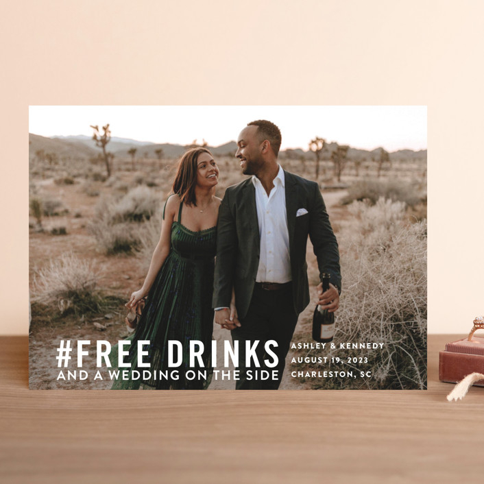 """Free Drinks"" - Save The Date Cards in Pearl by Jennifer Lew."