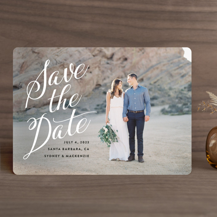"""Mi Amore"" - Save The Date Cards in Ivory by Jennifer Lew."