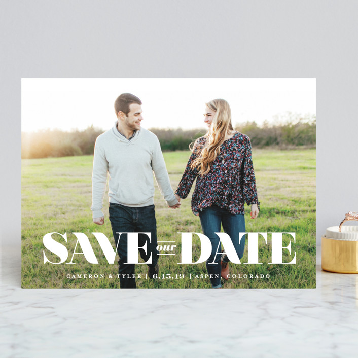 """nouvelle"" - Save The Date Cards in Snow by Jennifer Wick."