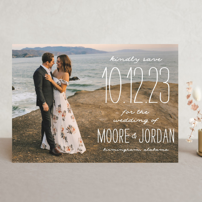 """""""Earthy"""" - Bohemian Save The Date Cards in Pearl by Owl and Toad."""