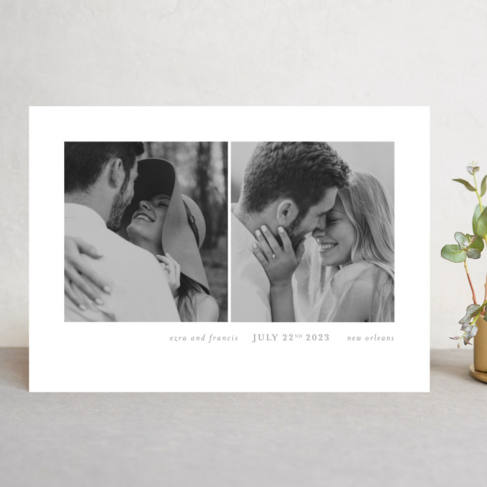 """""""Simply bliss"""" - Save The Date Cards in Pebble by Seven Swans."""