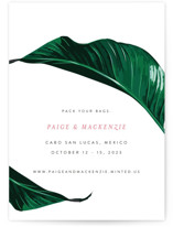 This is a green save the date by Fig and Cotton called Mod Palm with standard printing on signature in standard.
