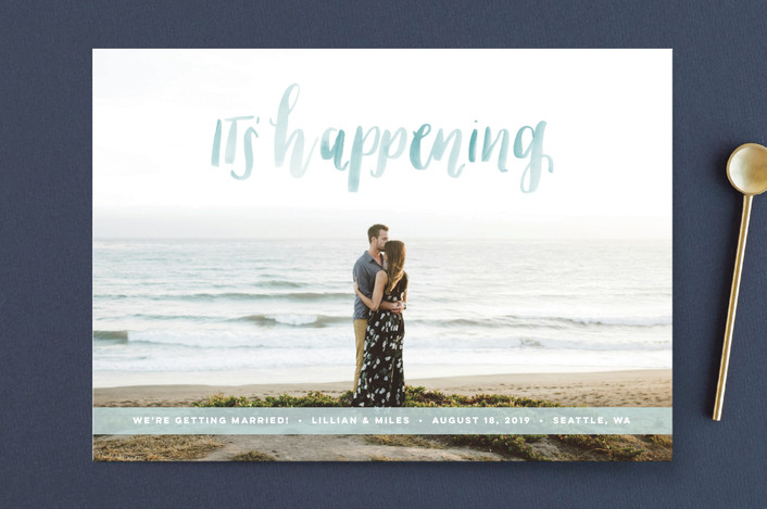 """""""It's Happening"""" - Bohemian Save The Date Cards in Ocean by Anchored Paper Co.."""