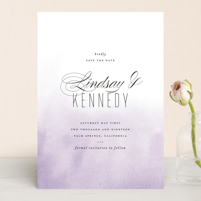 """""""Ombre"""" - Save The Date Cards in Lilac by Roxy Cervantes."""