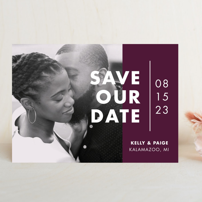 """Color Me Married"" - Save The Date Cards in Dusted by Pixel and Hank."
