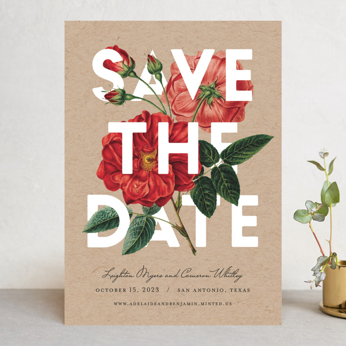 """Daring Date"" - Save The Date Cards in Crimson by Fig and Cotton."