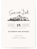 This is a white save the date by Anastasia Makarova called Mountains with standard printing on signature in standard.