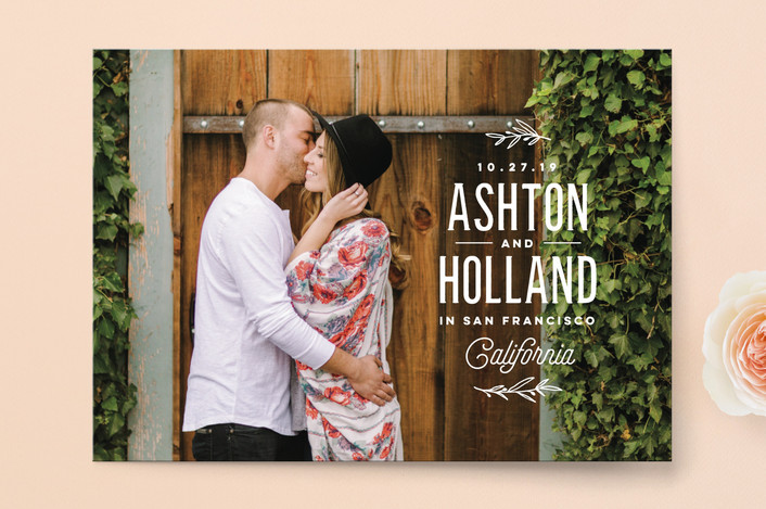 """Vintage Love"" - Modern Save The Date Cards in Cotton by Oscar & Emma."