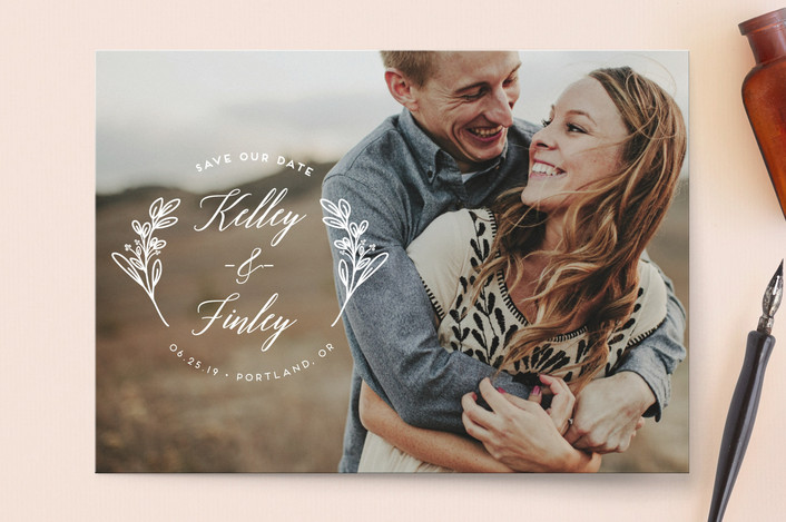 """Wildflowers"" - Rustic Save The Date Cards in Pearl by Shirley Lin Schneider."