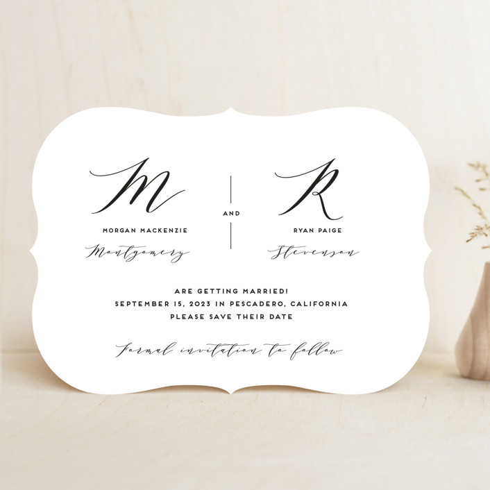 """Elegant Monogram"" - Save The Date Cards in Berry by Simona Camp."