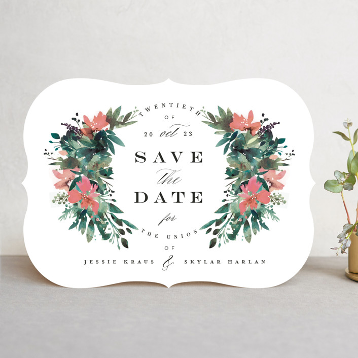 """Painted Laurel"" - Save The Date Cards in Peach by Lori Wemple."