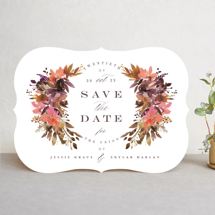"""""""Painted Laurel"""" - Save The Date Cards in Peach by Lori Wemple."""
