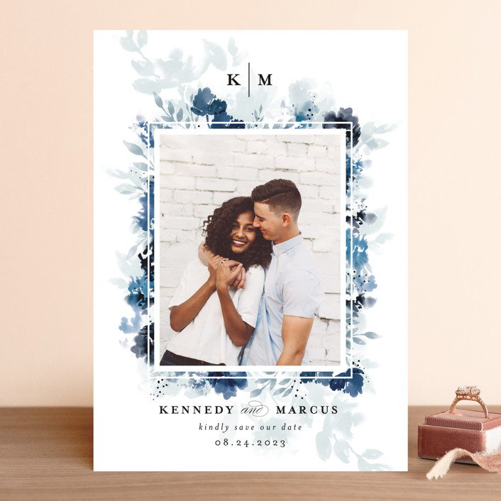 """""""border blooms"""" - Save The Date Cards in Bluebell by Angela Marzuki."""