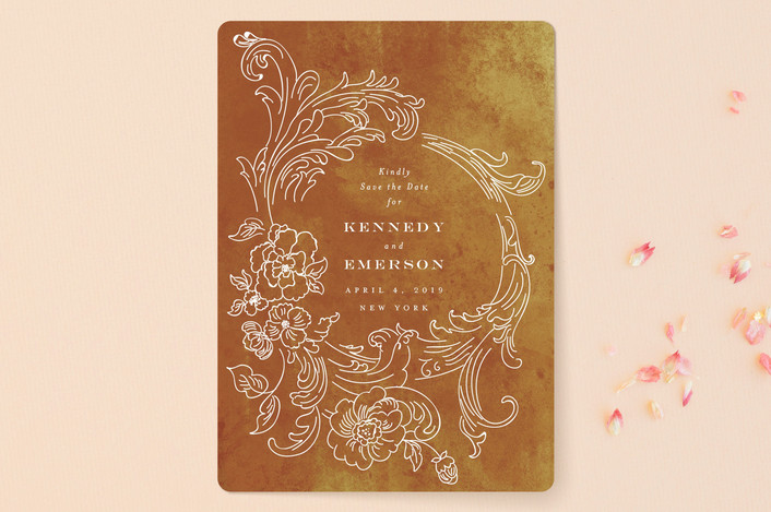 """""""Ornate"""" - Vintage Save The Date Cards in Indigo by Nazia Hyder."""