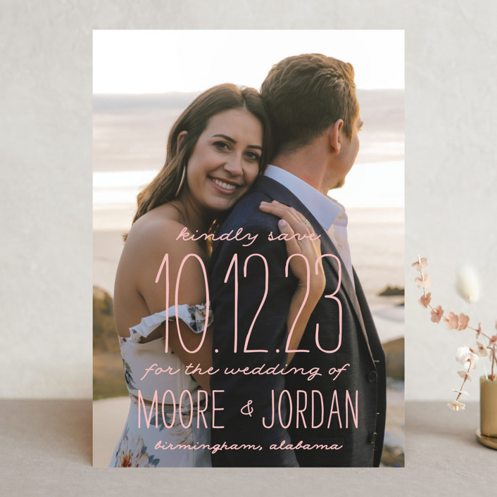 """Earthy"" - Bohemian Save The Date Cards in Pearl by Owl and Toad."
