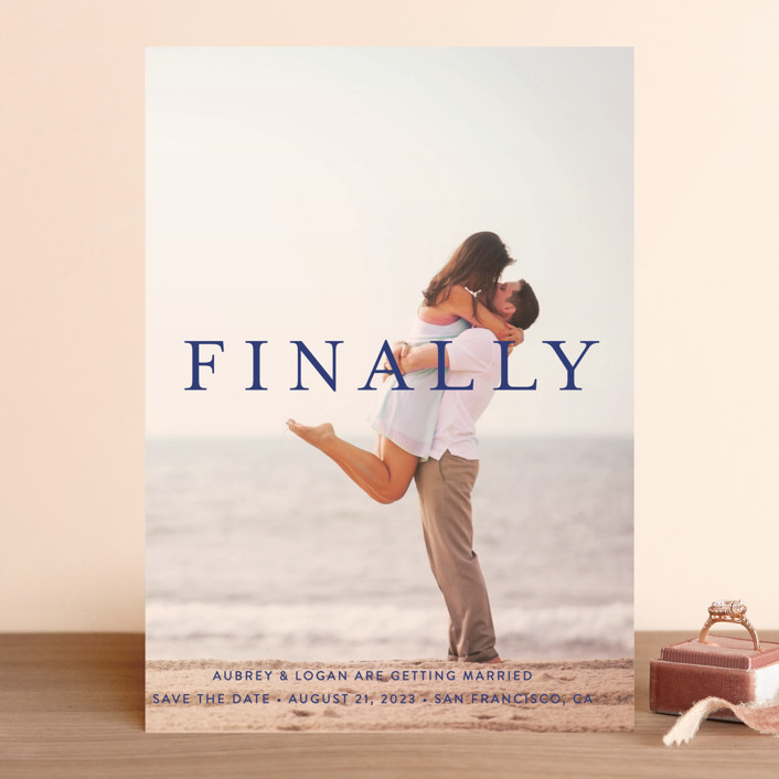 """Its Finally Time"" - Save The Date Cards in Vanilla by Liz Conley."