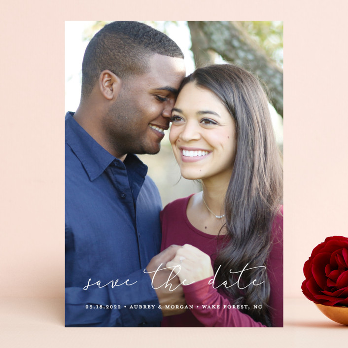 """Etched in love"" - Save The Date Cards in Cloud by Stacey Meacham."