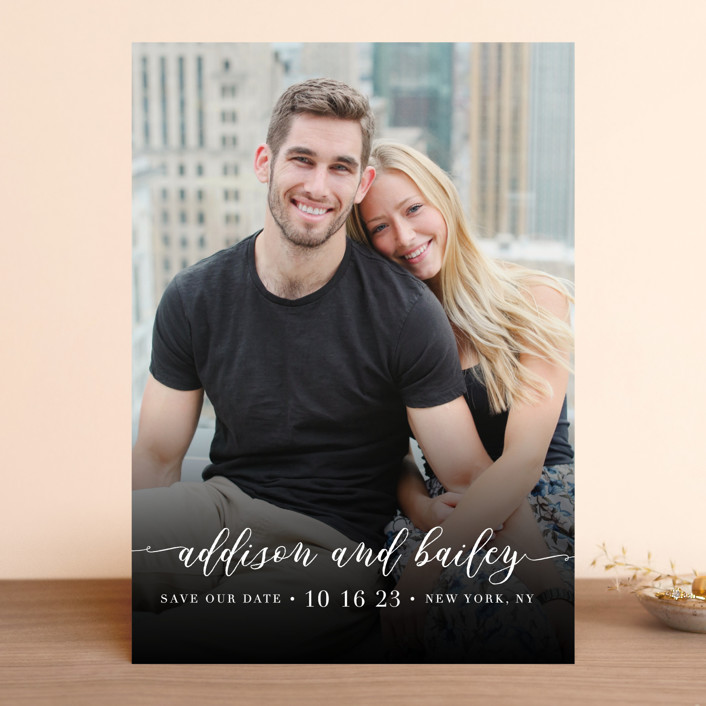"""""""Simply Us"""" - Save The Date Cards in Pearl by Lehan Veenker."""