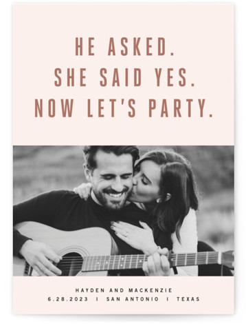 This is a portrait offbeat, pink Save the Dates by Jody Wody called Marquee with Standard printing on Signature in Classic Flat Card format. Simple gold type with a bold, fun message.