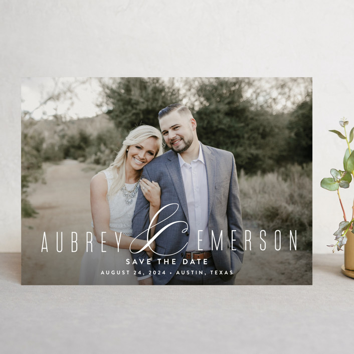 """""""Resplendent"""" - Save The Date Cards in White by Jessica Williams."""