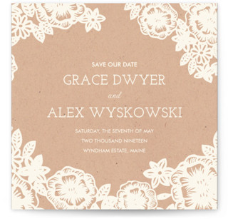 photo of Lace And Kraft Save The Date Cards
