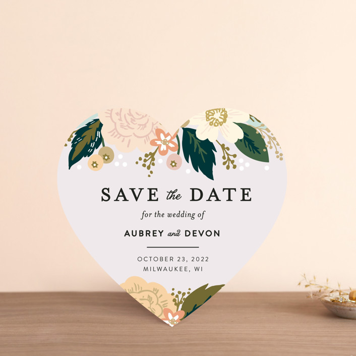 """Classic Floral"" - Save The Date Cards in Spring Blush by Alethea and Ruth."