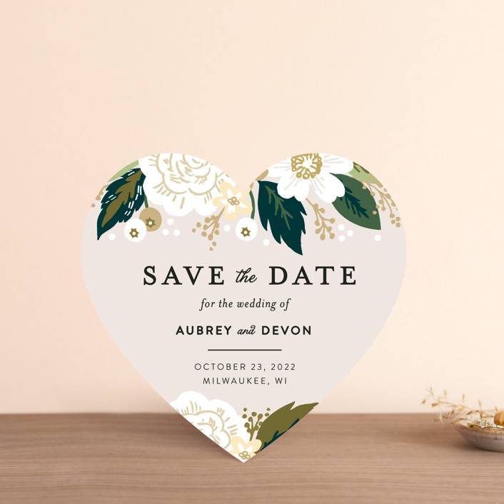 """Classic Floral"" - Save The Date Cards in Cream by Alethea and Ruth."