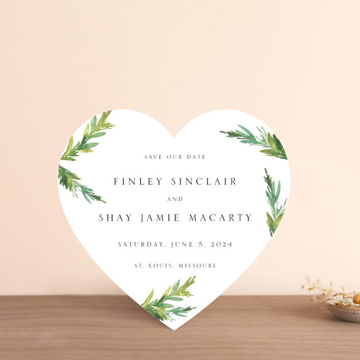 """Simple Pine Branches"" - Save The Date Cards in Vanilla by Nikkol Christiansen."