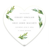 This is a white save the date by Mere Paper called Simple Pine Branches with standard printing on signature in standard.