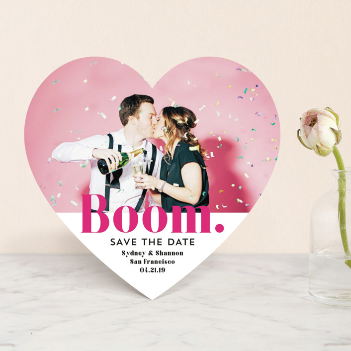 """BOOM Pop the Champagne"" - Save The Date Cards in Raspberry by Erika Firm."