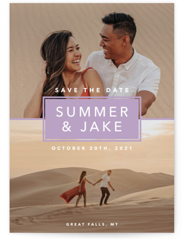 This is a portrait bold and typographic, bold typographic, modern, simple, purple Save the Dates by Laura Hamm called Summer Love with Standard printing on Signature in Classic Flat Card format. Multi photo save the date