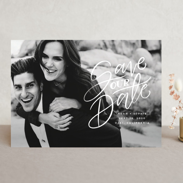 """Written with Love"" - Save The Date Cards in Quartz by Leah Bisch."