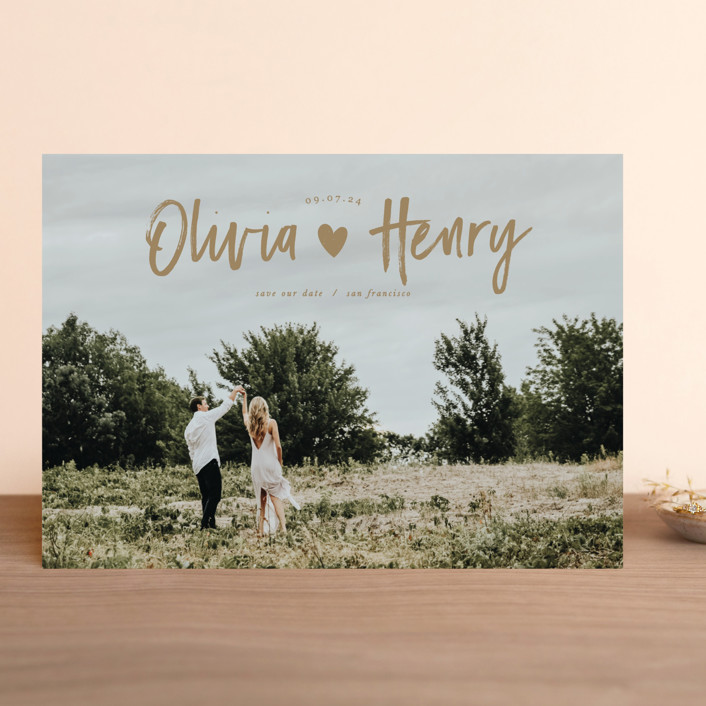 """""""Hearty"""" - Modern Save The Date Cards in Enchanted by Creo Study."""