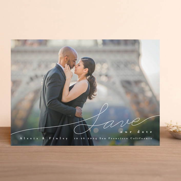 """""""Contemporary Script"""" - Save The Date Cards in Silk by Four Wet Feet Studio."""