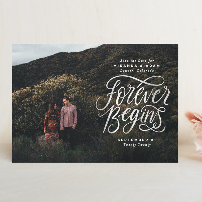 """""""Forever Begins"""" - Bohemian Save The Date Cards in Chalk by Pink House Press."""