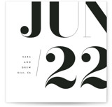 This is a white save the date by kelli hall called calendrier with standard printing on signature in standard.