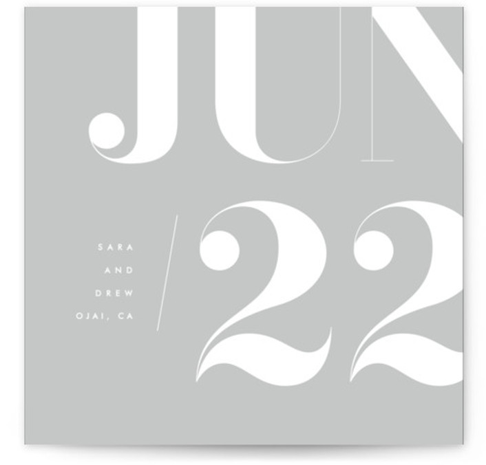 This is a square orientation bold and typographic, grey Save the Dates by kelli hall called calendrier with Standard printing on Signature in Classic Flat Card format. Number focused save the date inspired by a calendar sheet