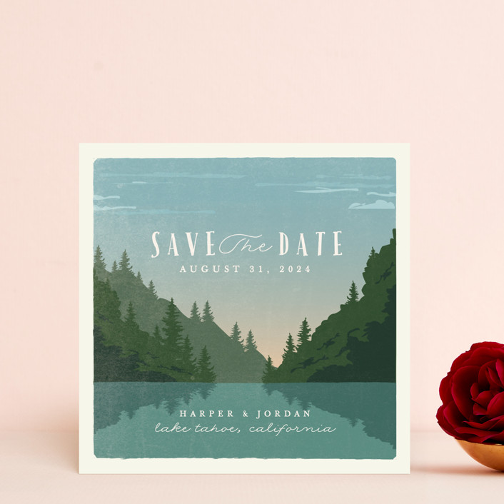 """vintage poster"" - Save The Date Cards in Lake by Karidy Walker."